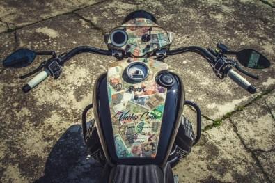 Moto Guzzi V9 Bobber Custom, 'Vecchio Conio' by Rustom [Tank and instruments top]