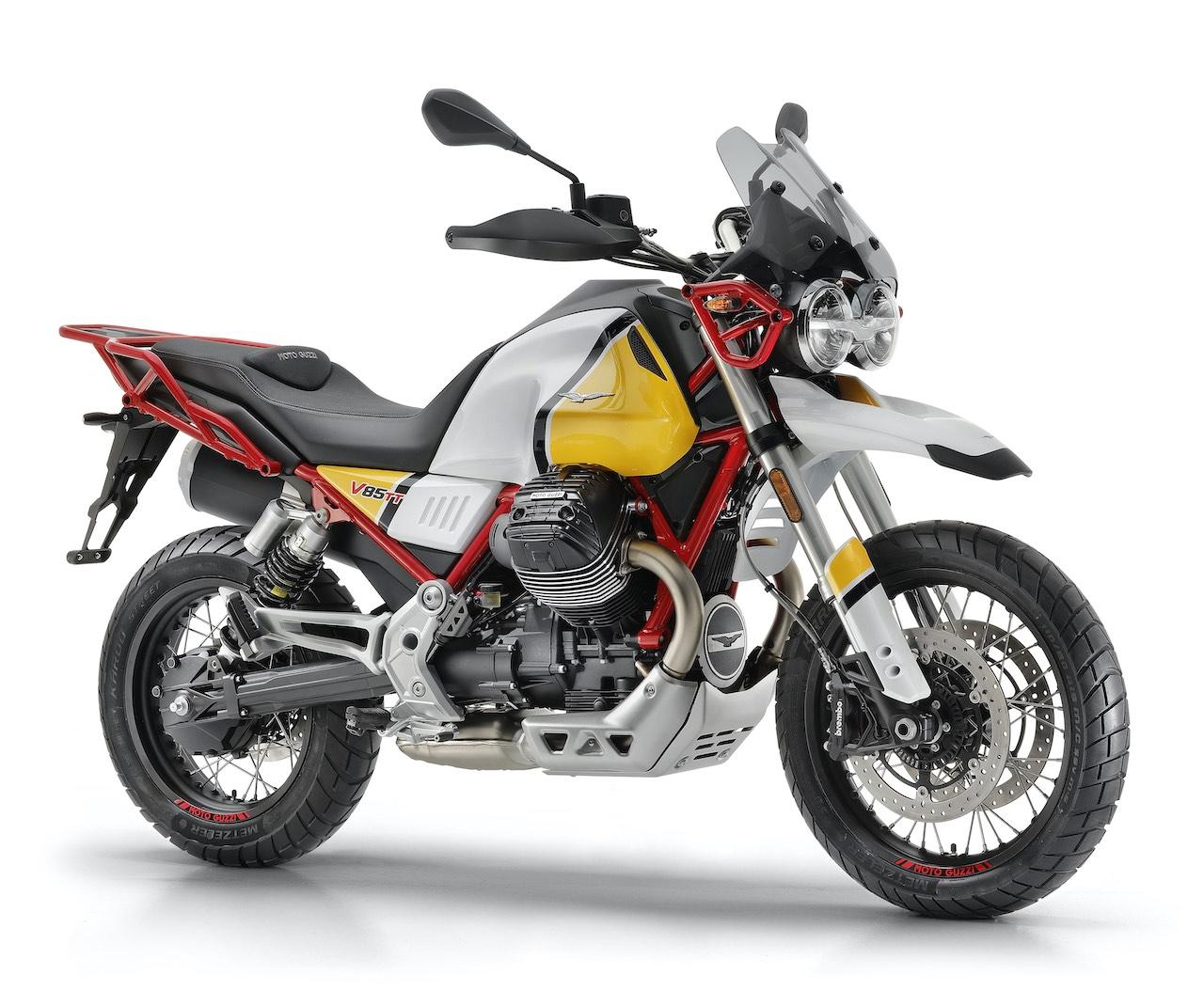 Retro Adventure Moto Guzzi V85 TT GIALLO Sahara front right view