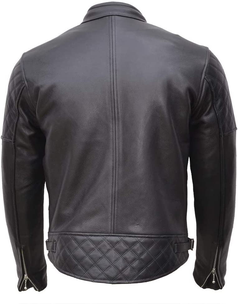 Goldtop England Black Leather Jacket back