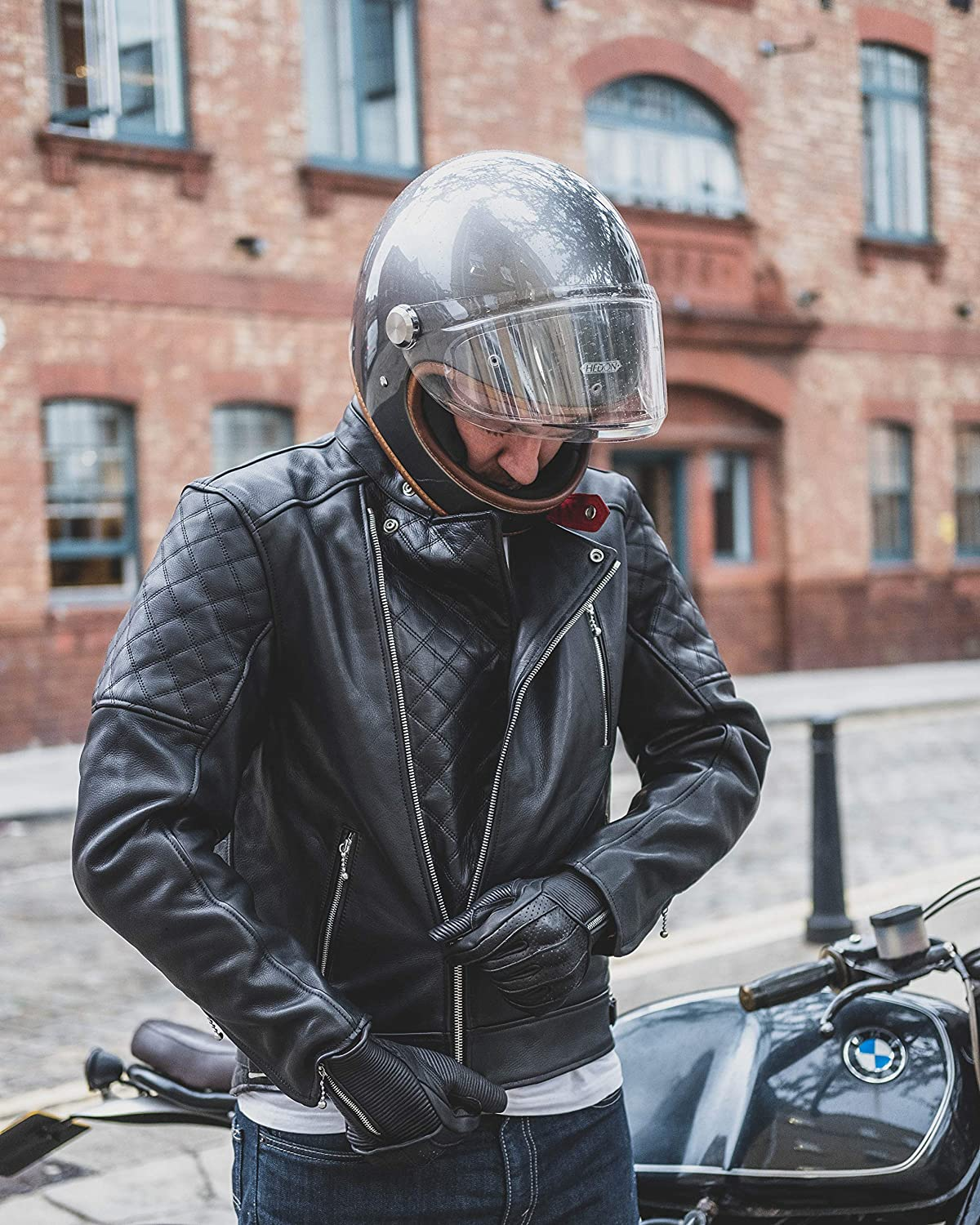 Rider wearing Goldtop Black Leather Jacket with Hedon Helmet