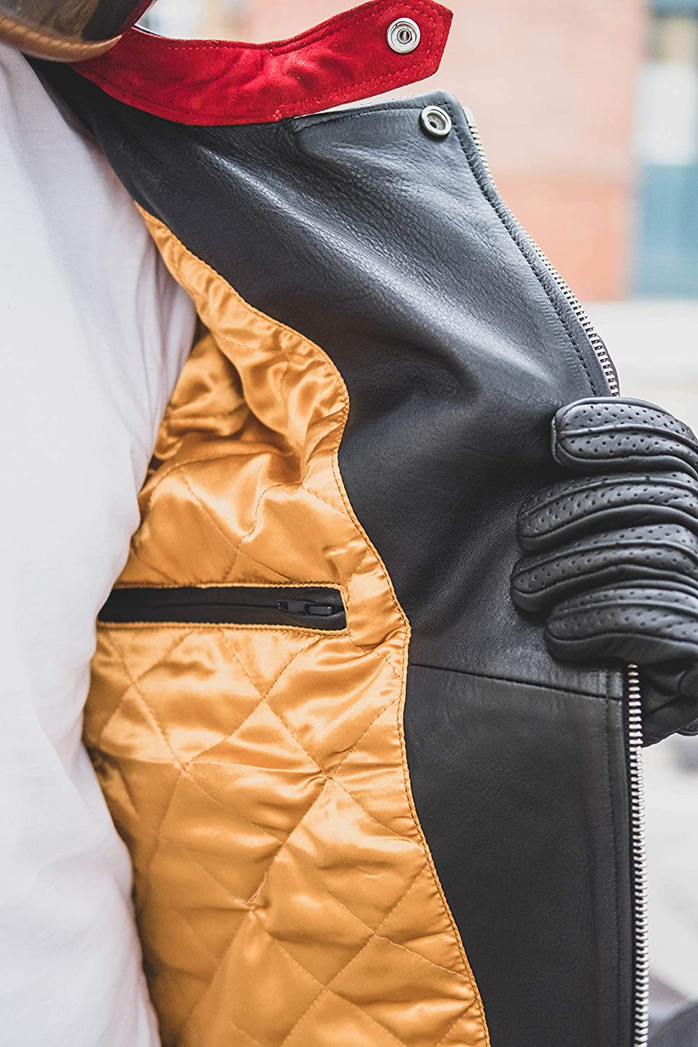 Yellow Inner-lining of Goldtop Black Leather Jacket