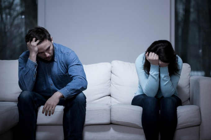 Picture of young couple having difficulties in relationship