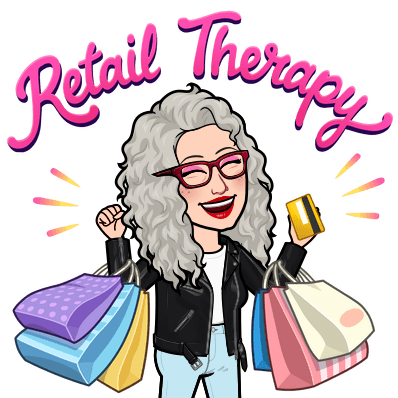 retail therapy Barb's bitmoji for shopping