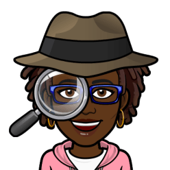 """Black Woman BitMoji with dreadlocks and a detective hat holding a magnifying glass. Caption says """"Searching."""""""