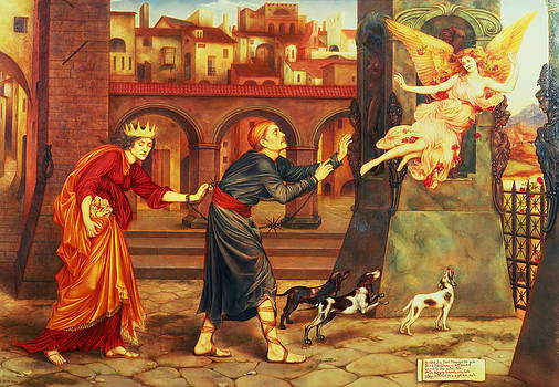 Evelyn De Morgan - Blindness and Cupidity Chasing Joy from the City
