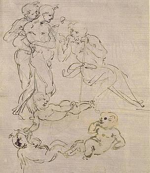 Leonardo Da Vinci - Estudio Figural para la adoración de los Reyes Magos