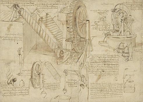 Leonardo Da Vinci - Machines to lift water draw water from well and bring it into houses from Atlantic Codex