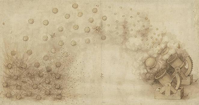 Leonardo Da Vinci - Estudio de dos morteros para lanzar bombas explosivas del Códice Atlántico