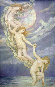 Evelyn De Morgan - Moonbeams Dipping into the Sea