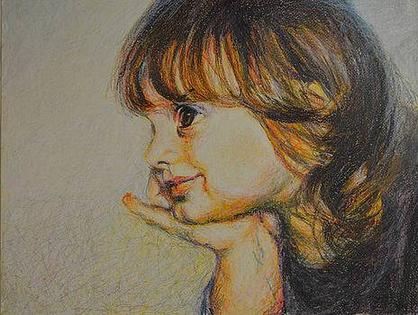 portrait of a girl in crayon
