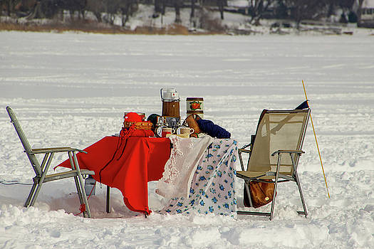 Winter Picnic on a Frozen Lake by Laura Smith