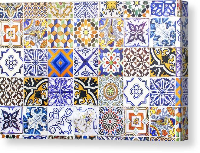 hand painted portuguese ceramic tile canvas print