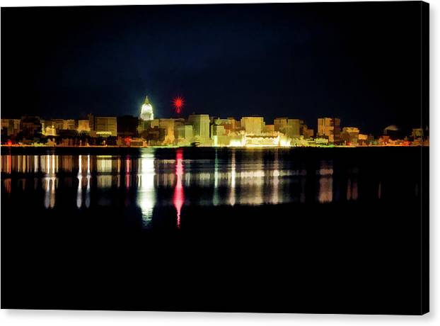Christmas Canvas Print featuring the photograph Madison Skyline by Carl Simmerman