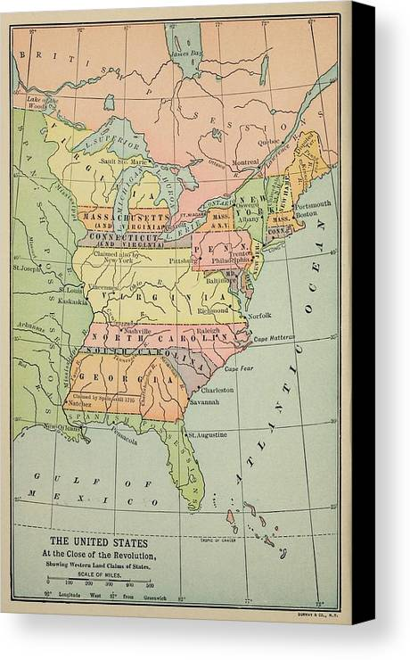 Map Of Eastern North America In 1783 Canvas Print   Canvas Art by     History Canvas Print featuring the photograph Map Of Eastern North America  In 1783 by Everett