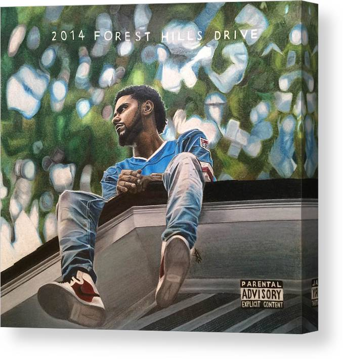 j cole 2014 forest hills drive drawing canvas print