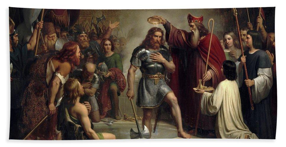 Baptism of Clovis at Reims Bath Towel for Sale by Francois-Louis Dejuinne