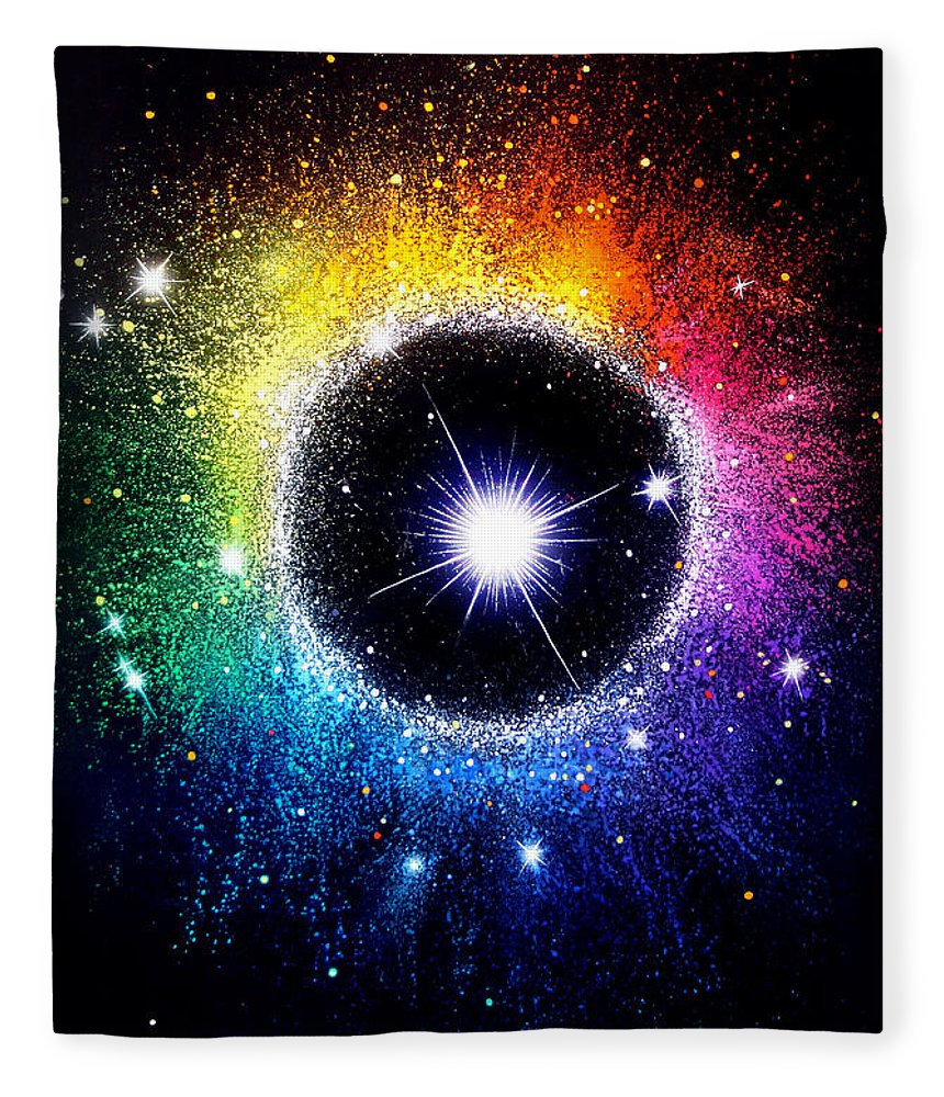 Rainbow Circle Galaxy. Beautiful Universe Fleece Blanket ...