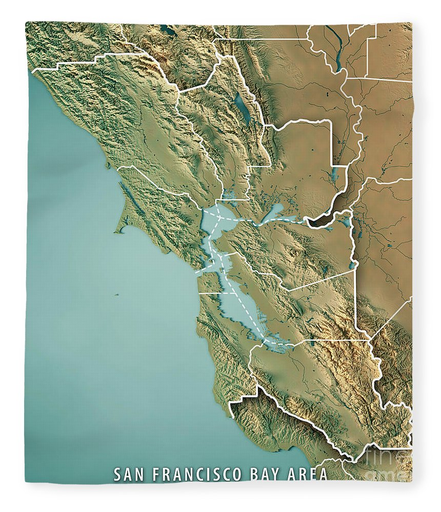 San Francisco Bay Area Usa 3d Render Topographic Map Border Fleece     San Francisco Bay Area Fleece Blanket featuring the digital art San  Francisco Bay Area Usa 3d