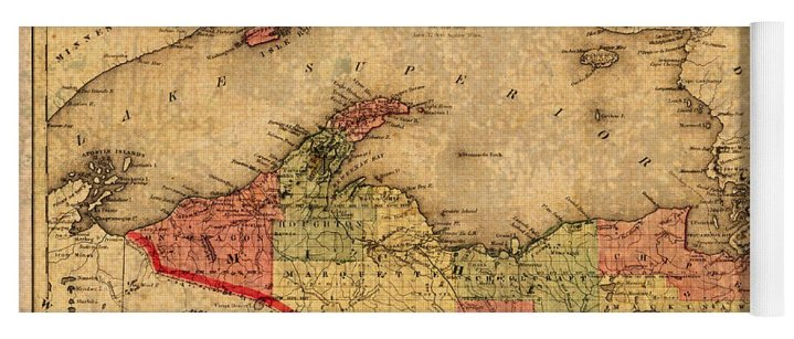Map Of Michigan Upper Peninsula And Lake Superior Vintage Circa 1873     Map Yoga Mat featuring the mixed media Map Of Michigan Upper Peninsula And  Lake Superior Vintage