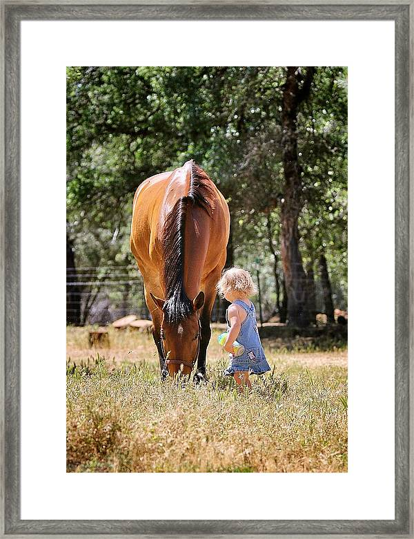 Cowgirl Framed Print featuring the photograph At The Ranch by Maria Jansson