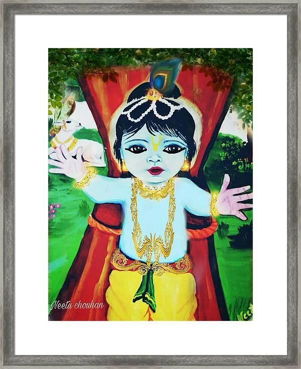 Image of: Pics Baby Krishna Framed Print Featuring The Digital Art Cute Krishna By Neetu Chouhan Yunlinplaytw Cute Krishna Framed Print By Neetu Chouhan