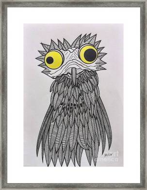 Surrealist Potoo Bird Framed Print by Graham Wallwork Nature Surrealist Bird Nightjar Potoo Framed Print featuring the pastel  Surrealist Potoo Bird by Graham Wallwork