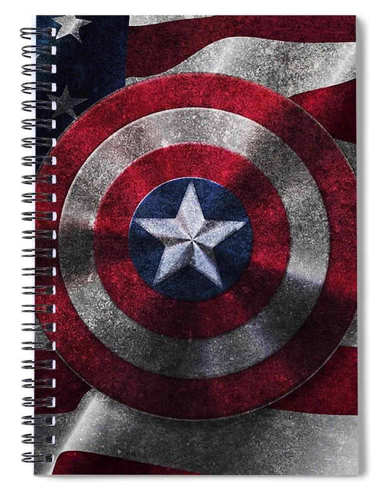 Captain America Shield On Usa Flag Spiral Notebook For Sale By Georgeta Blanaru
