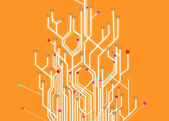 Circuit Board Graphic Greeting Card For Sale By Setsiri