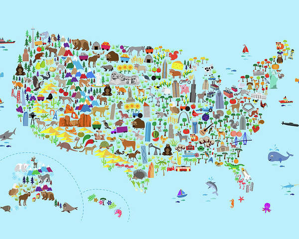 From its easternmost point, west quoddy head in maine, to its westernmost point, point arena in california, it's approximately 2,800 miles. Animal Map Of United States For Children And Kids Poster By Michael Tompsett