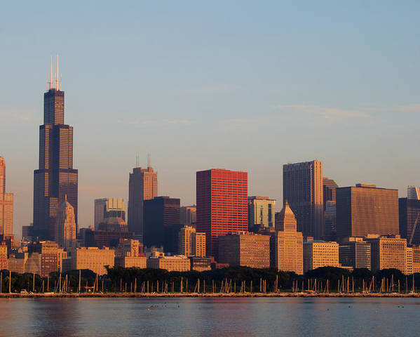chicago skyline seen from lake michigan poster