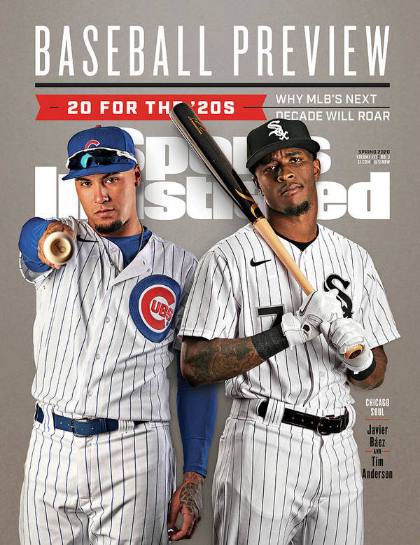 chicago cubs javier baez and chicago white sox tim sports illustrated cover poster