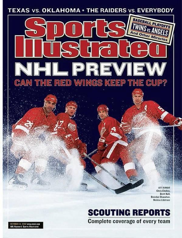 detroit red wings chris chelios brett hull brendan sports illustrated cover poster