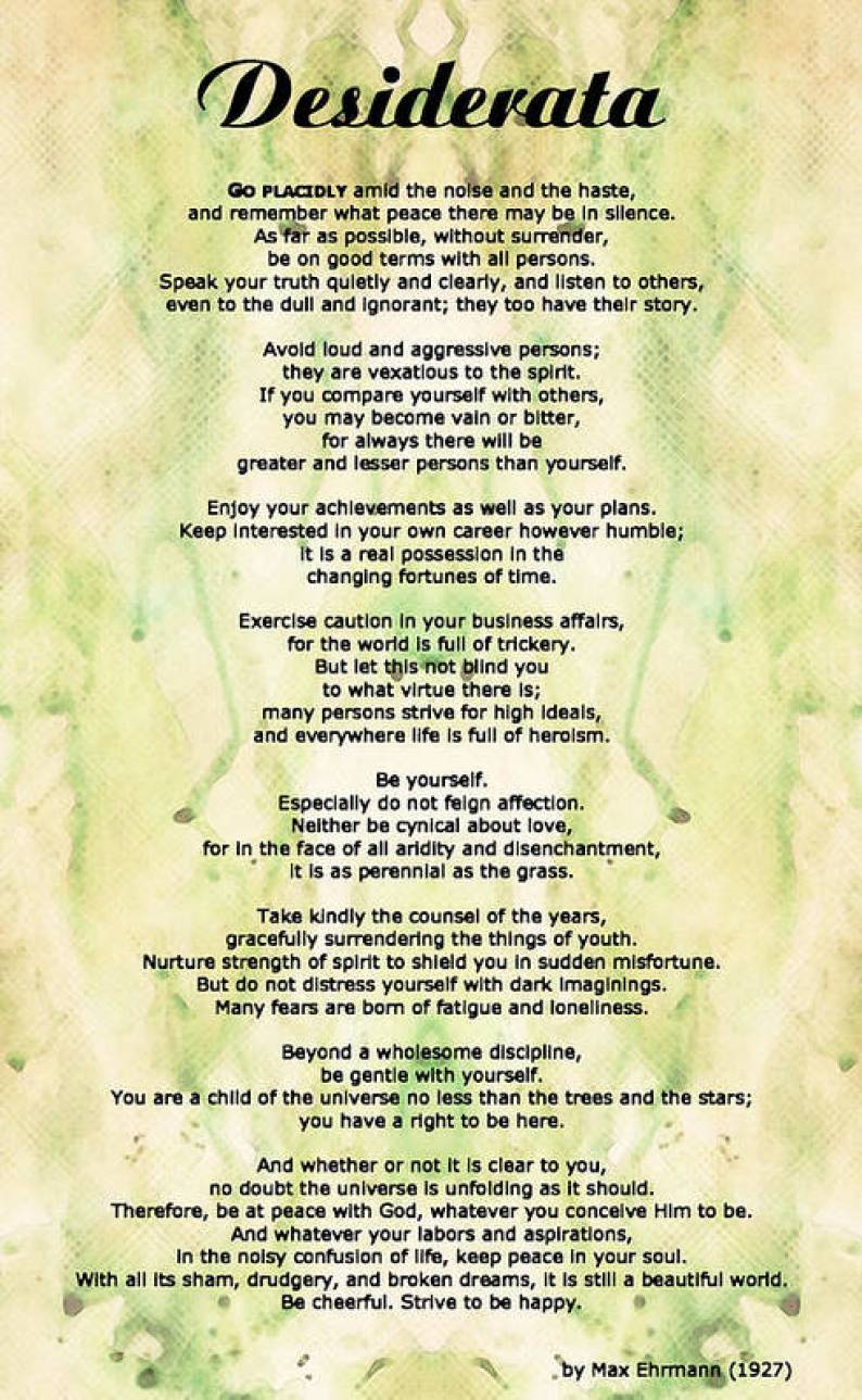 Image result for desiderata poster free download