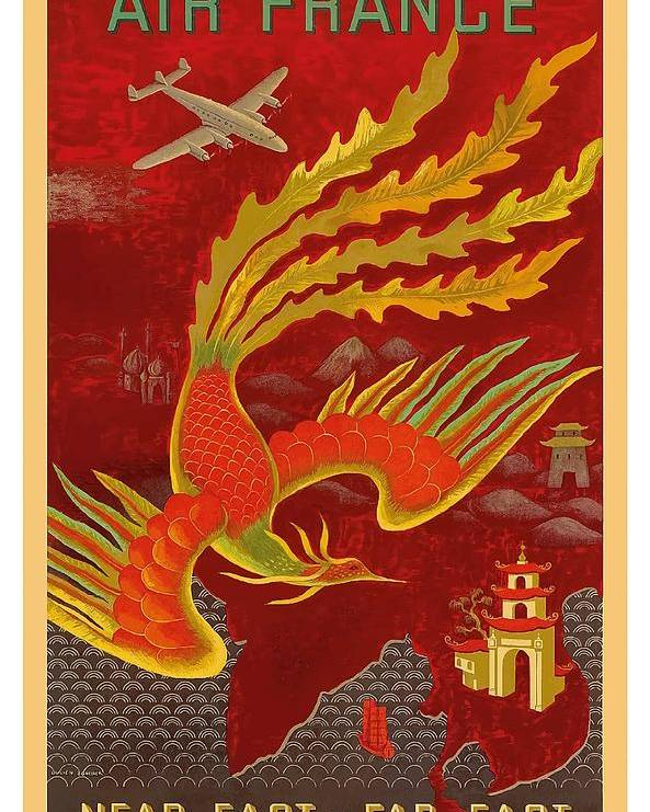 india china and japan the bird of paradise countries air france vintage airline travel poster poster