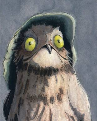 Potoo Bird Poster by Kate McQueen Bird Poster featuring the mixed media Potoo Bird by Kate McQueen