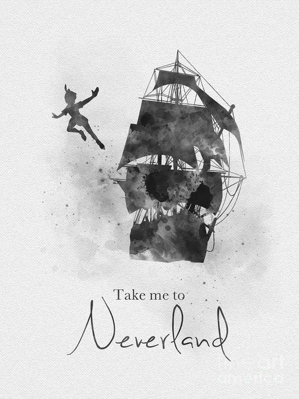 take me to neverland black and white poster