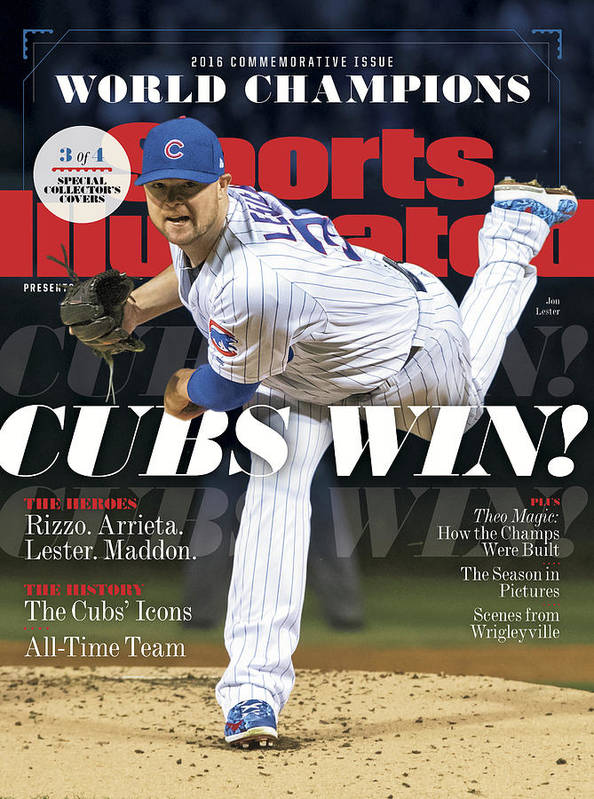 chicago cubs 2016 world series champions sports illustrated cover poster