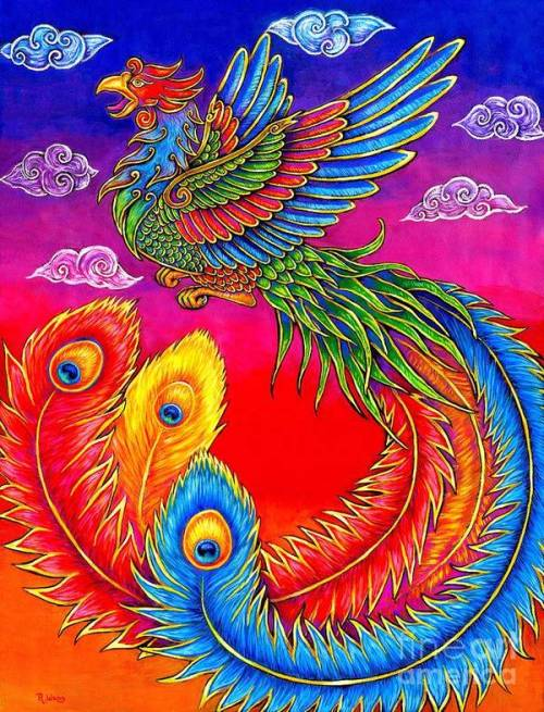 Colorful Phoenix painting by Rebecca Wang.