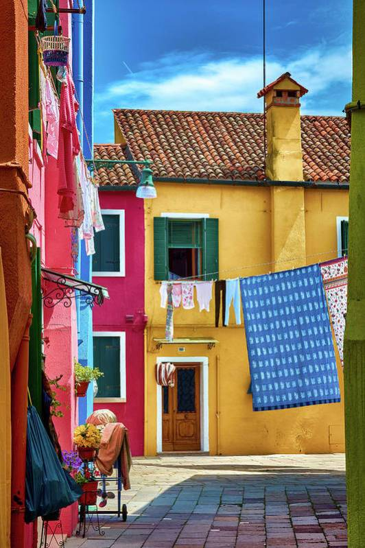 "Colorful houses in the photograph ""Hidden Magical Alley"" by Eduardo José Accorinti"