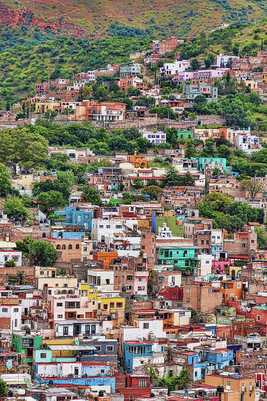 Colorful Art Print featuring the photograph Colorful Hilltop Houses In Guanajuato, Mexico by Tatiana Travelways