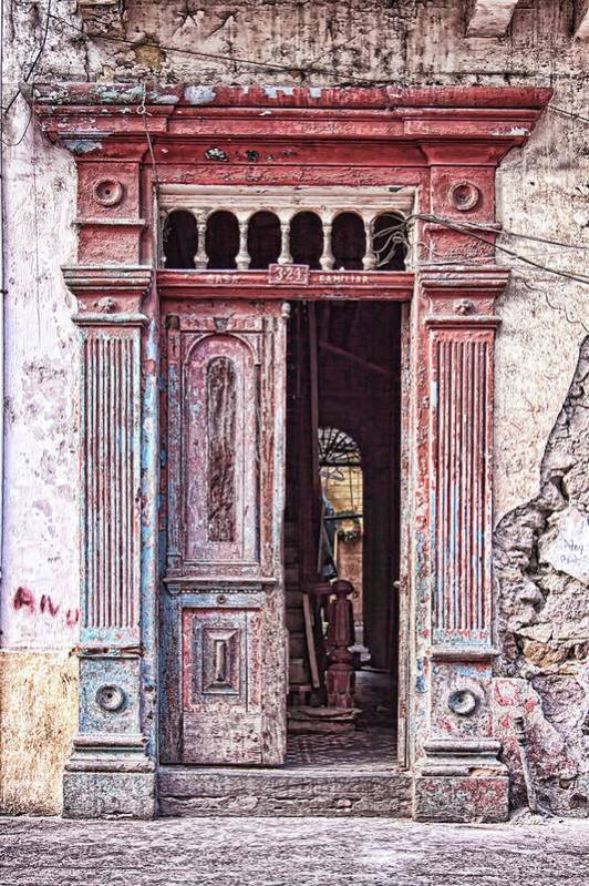 Panama Art Print featuring the photograph Deteriorated door in Casco Viejo, Panama by Tatiana Travelways