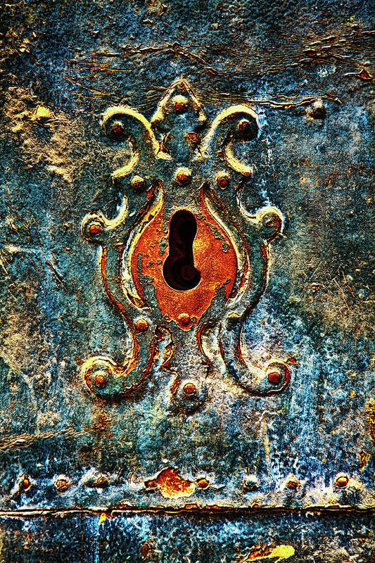 Door Art Print featuring the photograph Rusted door keyhole in Spain by Tatiana Travelways