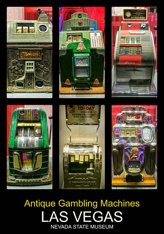 Antique Art Print featuring the photograph Antique Gambling Machines Poster by Tatiana Travelways