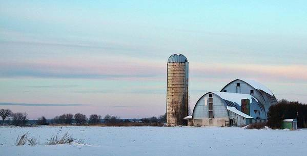 Winter Art Print featuring the photograph Winter Farm And Barns Ontario by Tatiana Travelways