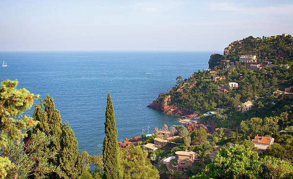 French Riviera Art Print featuring the photograph French Mediterranean Coastline by Tatiana Travelways