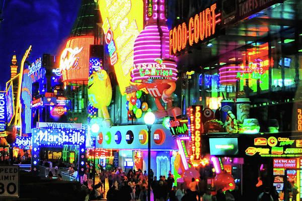 Las Vegas Strip At Night Art Print featuring the photograph Las Vegas Strip At Night by Tatiana Travelways