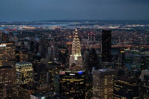 New York City after dark. The view from the Empire State Building.