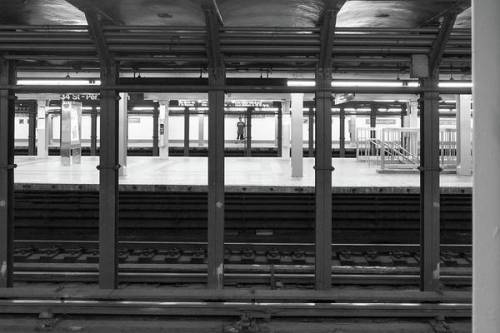 Waiting for the train at Penn Station by Sharon Popek