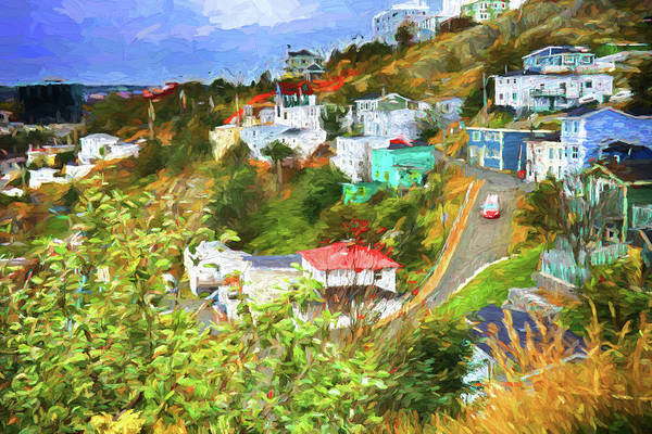 St.johns Art Print featuring the photograph Battery Hill - St.johns, Newfoundland - Painting by Tatiana Travelways