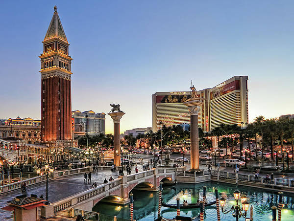 Venetian Hotel Art Print featuring the photograph Venetian Hotel Plaza, Las Vegas by Tatiana Travelways